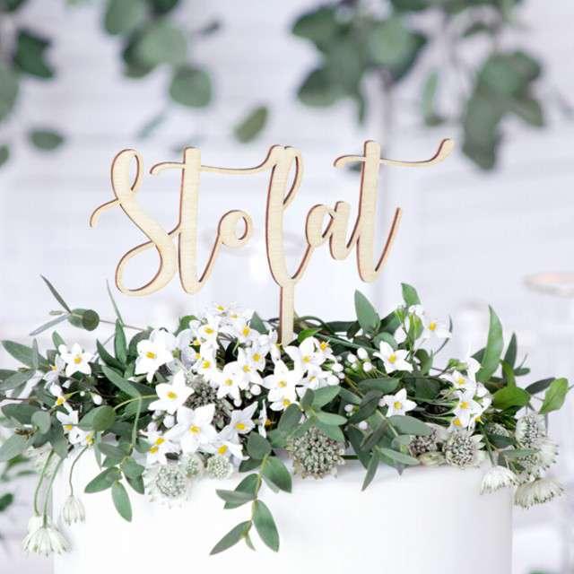 Dekoracja na tort Sto Lat PartyDeco 15 cm
