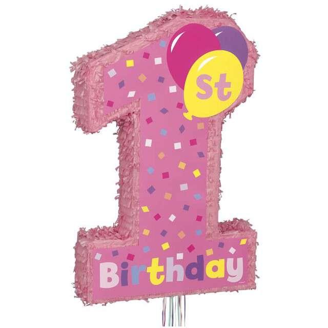 Piniata 1 Urodziny Dziewczynki UNIQUE 56x36 cm