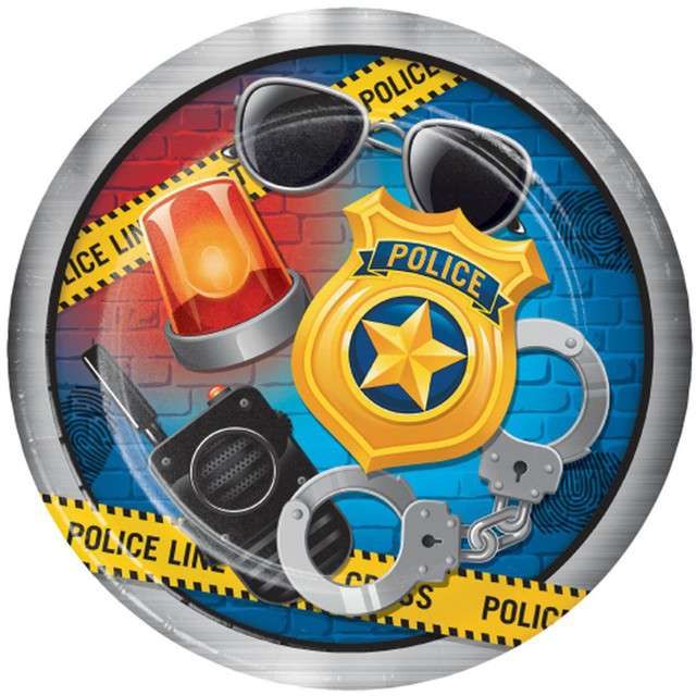 """Talerzyki papierowe """"Police Party"""", CreativeConverting, 23 cm, 8 szt"""