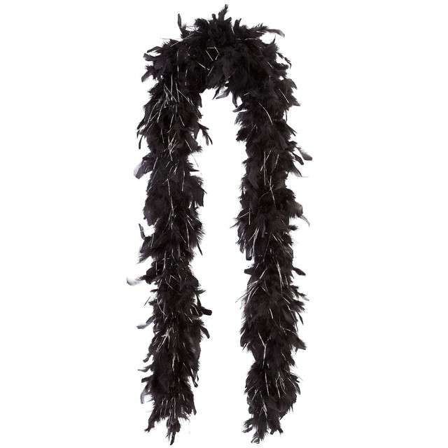 "Boa ""Double Long Lameta"", czarno-srebrne, FunnyFashion, 45 g, 200 cm"