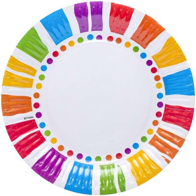 """Talerzyki papierowe """"Kolorowe Paski"""", mix, KRASZEK, 18 cm, 6 szt"""