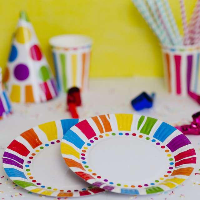 Talerzyki papierowe Kolorowe Paski mix KRASZEK 23 cm 6 szt