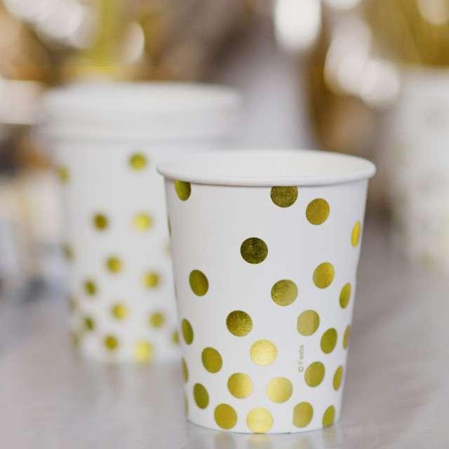 Kubeczki papierowe Złote groszki białe KRASZEK 260 ml 6 szt