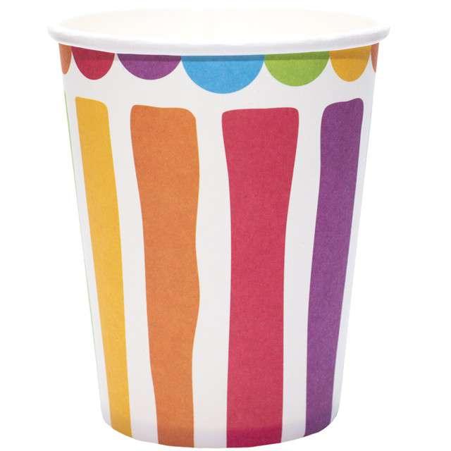 """Kubeczki papierowe """"Kolorowe Paski"""", mix, KRASZEK, 260 ml, 6 szt"""