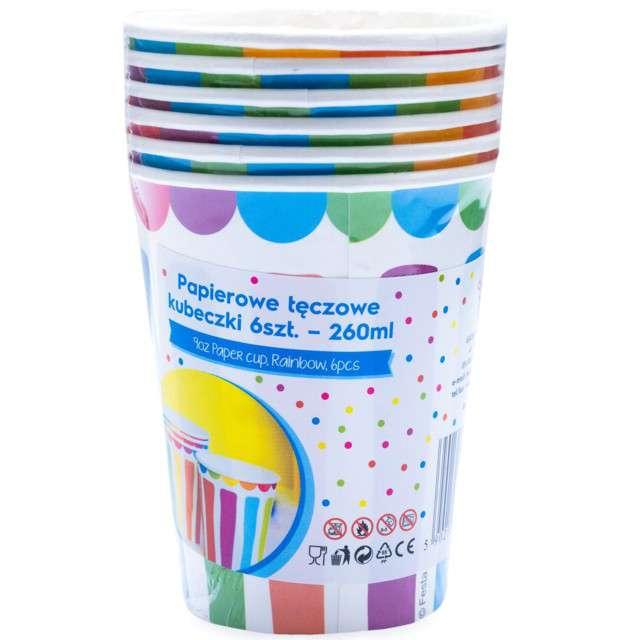 Kubeczki papierowe Kolorowe Paski mix KRASZEK 260 ml 6 szt