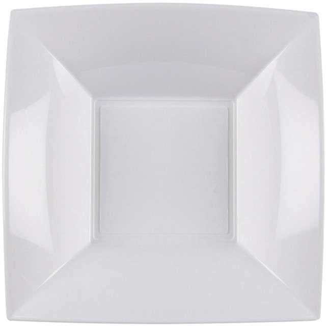 Talerzyki plastikowe Deluxe - Kwadratowe biały GoldPlast 18 cm 8 szt