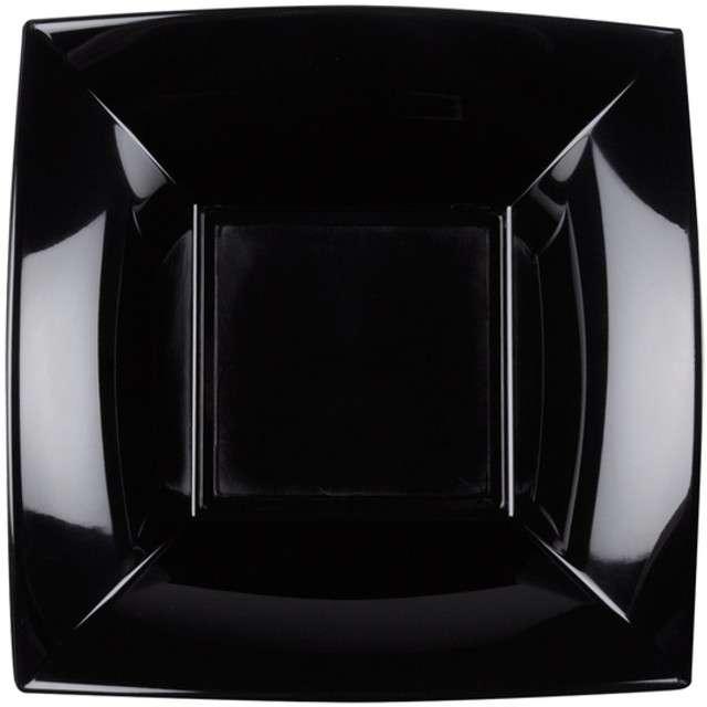 """Talerzyki plastikowe """"Deluxe - Kwadratowe"""", czarny, GoldPlast, 18 cm, 8 szt"""