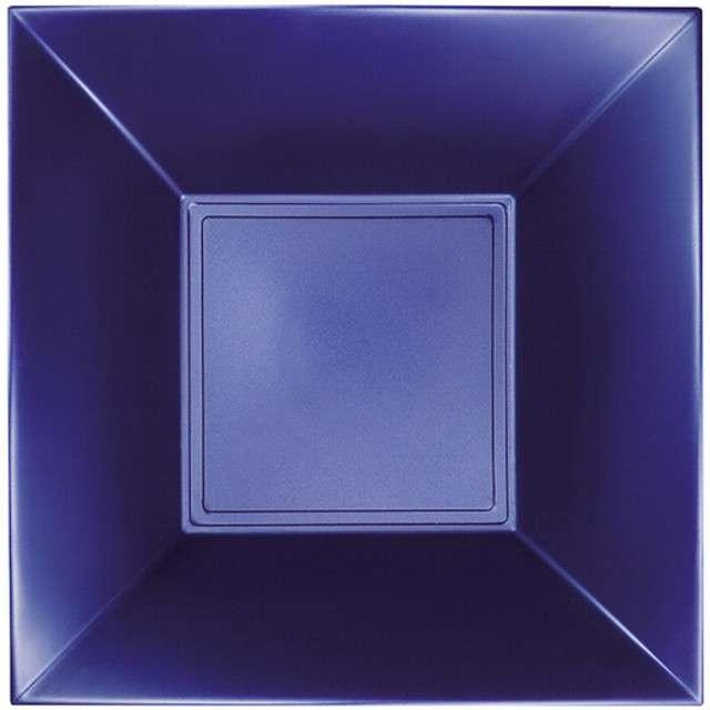 """Talerzyki plastikowe """"Deluxe - Kwadratowe"""", niebieski perłowy, GoldPlast, 18 cm, 8 szt"""