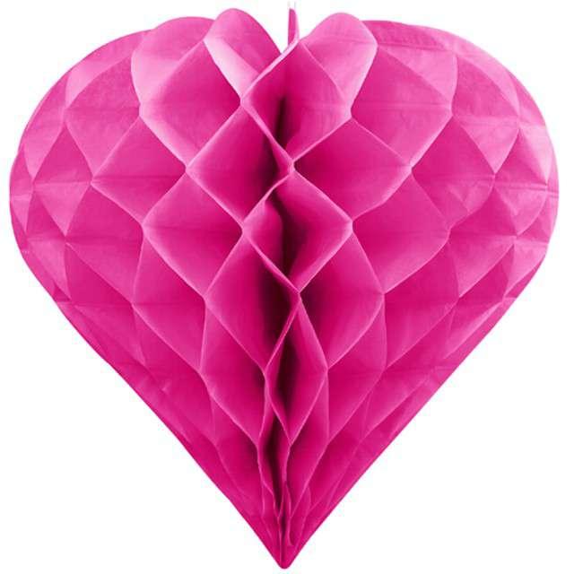 "Dekoracja ""Honeycomb Serce"", PartyDeco, różowe ciemne, 20 cm"