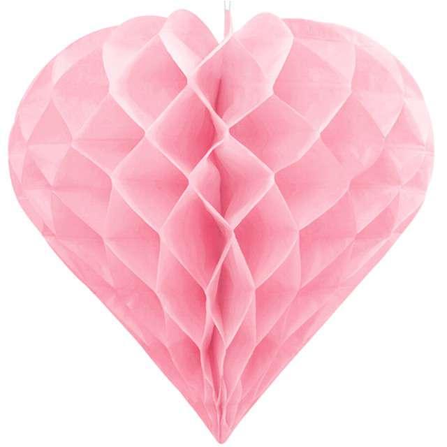 "Dekoracja ""Honeycomb Serce"", PartyDeco, różowe jasne, 20 cm"