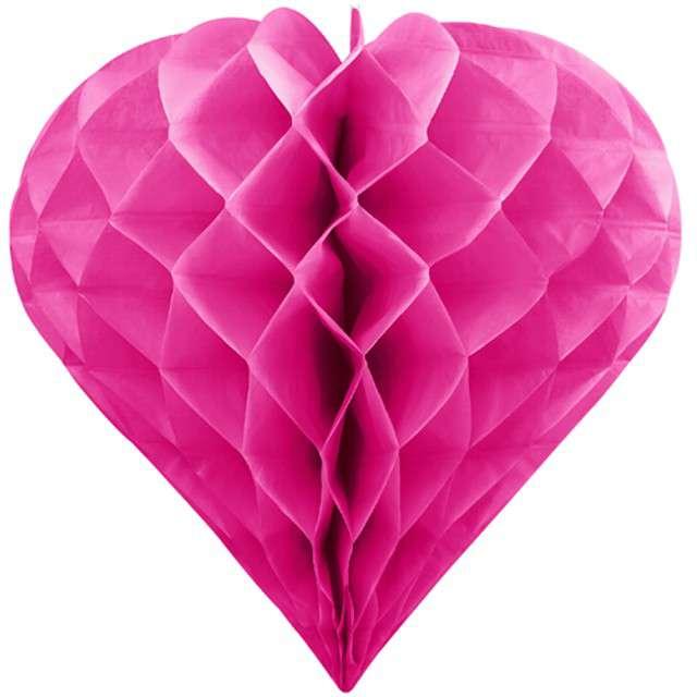 "Dekoracja ""Honeycomb Serce"", PartyDeco, różowe ciemne, 30 cm"
