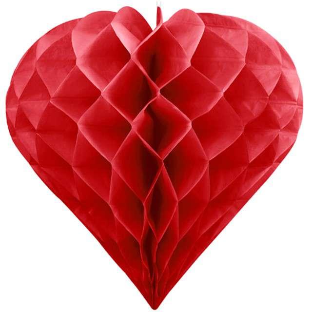 Dekoracja Honeycomb Serce PartyDeco czerwone 30 cm
