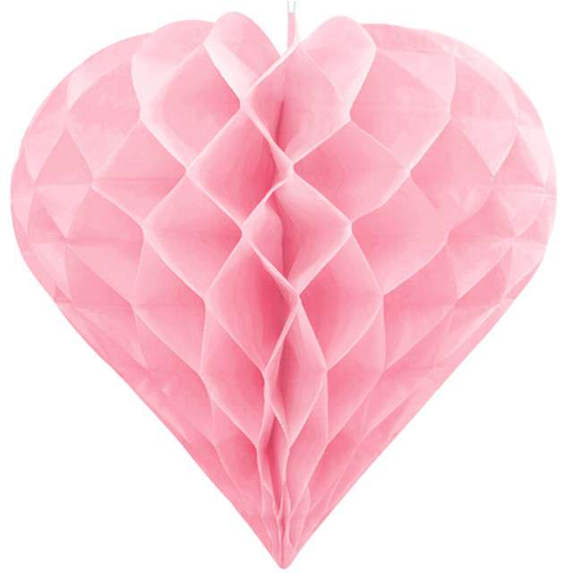 Dekoracja Honeycomb Serce PartyDeco różowe jasne 30 cm
