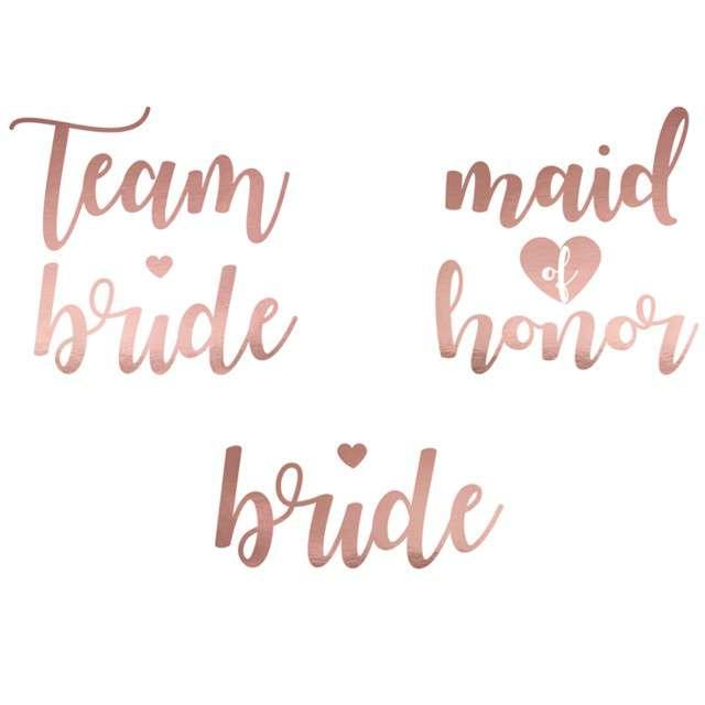 """Tatuaż wodny """"Wieczór Panieński - Team Bride"""", różowo-złoty, PartyDeco, 13 szt"""