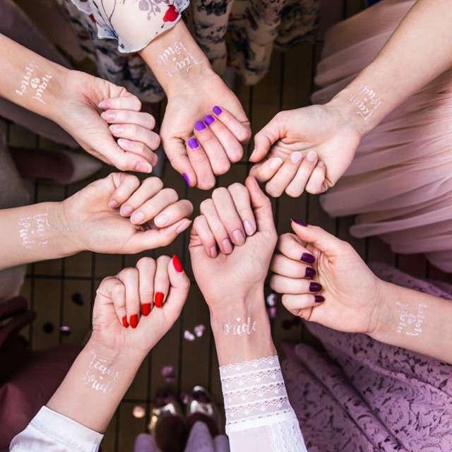 Tatuaż wodny Wieczór Panieński - Team Bride różowo-złoty PartyDeco 13 szt