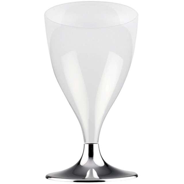 """Kieliszki jednorazowe """"Wino Premium"""", srebrny chrom, GoldPlast, 200 ml, 10 szt"""