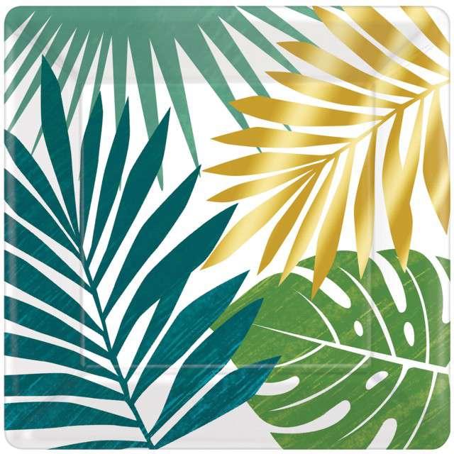 """Talerzyki papierowe """"Liście Palmy - Key West"""", AMSCAN, 18 cm, 8 szt"""