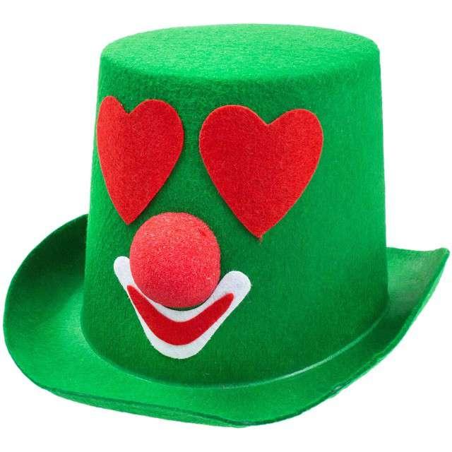"""Kapelusz """"Zakochany Klaun"""", zielony, filcowy, GODAN"""