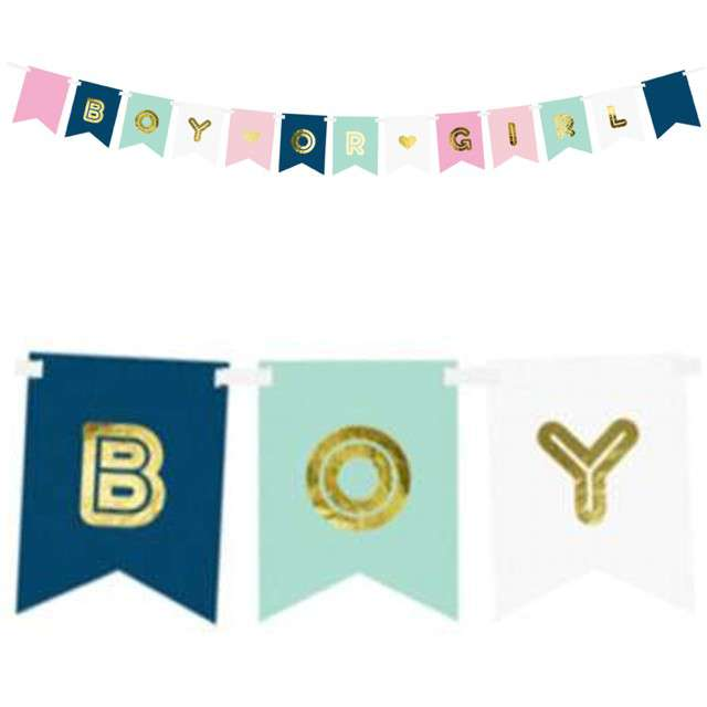 "Baner ""Boy or Girl"", mix, PartyDeco, 175 cm"