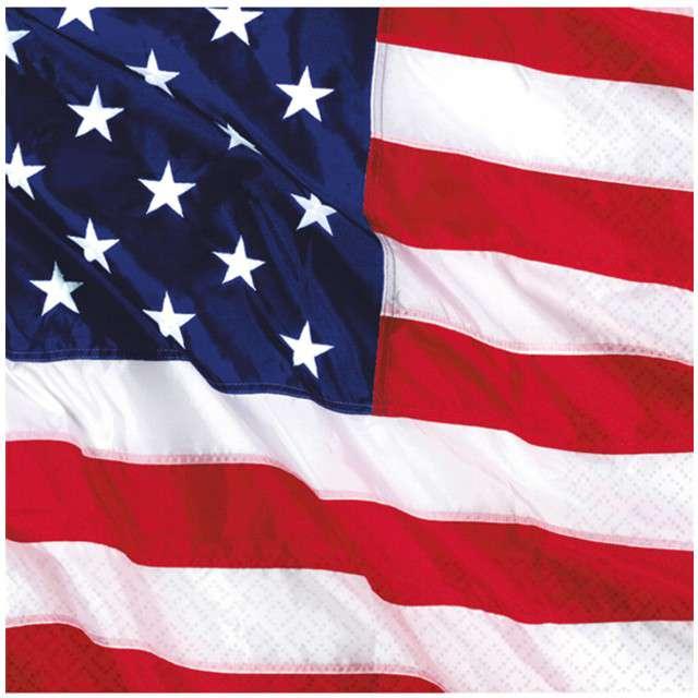 """Serwetki """"USA Flaga"""", AMSCAN, 25 cm, 16 szt"""