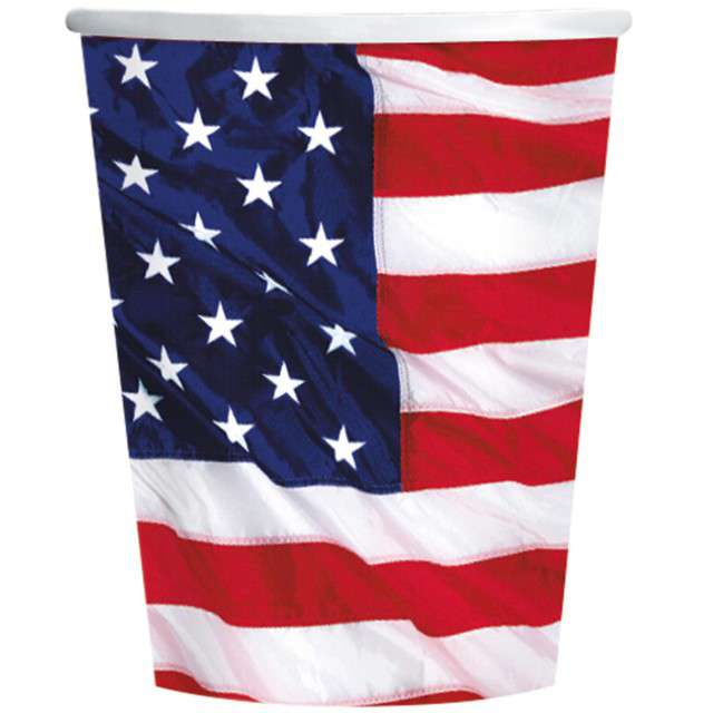 """Kubeczki papierowe """"USA - Flaga"""", AMSCAN, 266 ml, 8 szt"""
