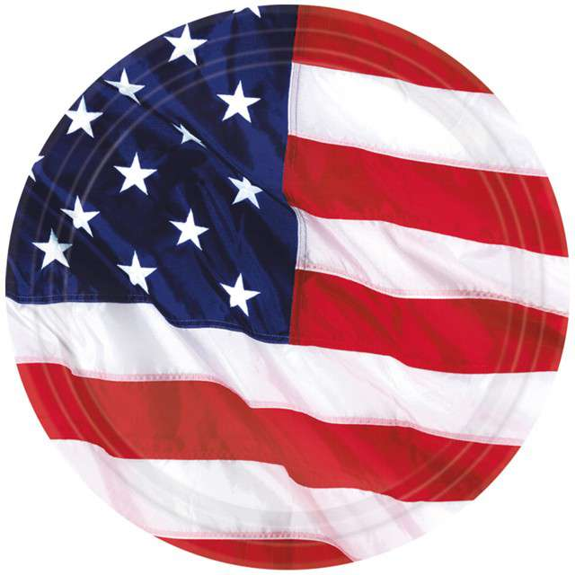 """Talerzyki papierowe """"USA - Flaga"""", AMSCAN, 18 cm, 8 szt"""