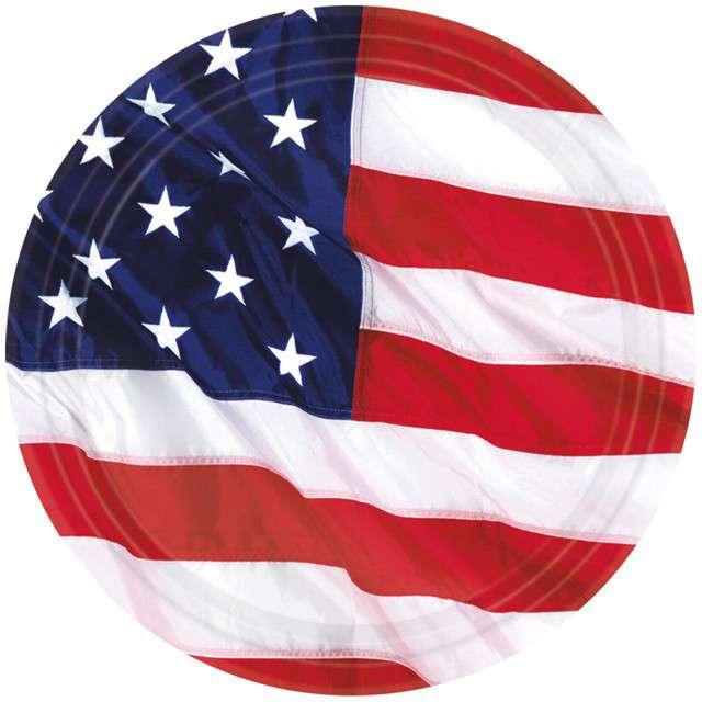 """Talerzyki papierowe """"USA - Flaga"""", AMSCAN, 27 cm, 8 szt"""