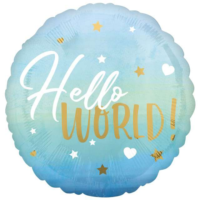"Balon foliowy ""Hello World - Baby Boy"", AMSCAN, 18"" CIR"