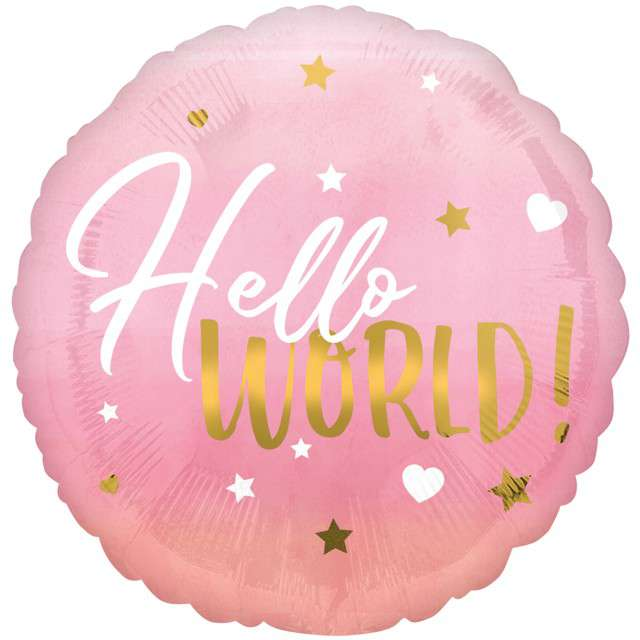 "Balon foliowy ""Hello World - Baby Girl"", AMSCAN, 18"" CIR"