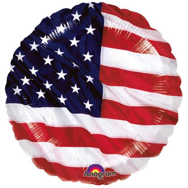 """Balon foliowy """"USA - Flaga"""", AMSCAN, 17"""" CIR"""