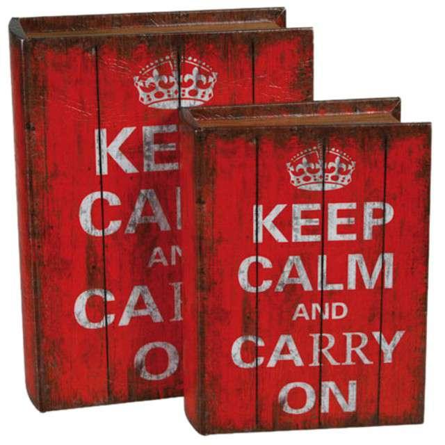 "Dekoracja ""Pudełko Keep Calm and Carry On"", OOTB, 2 szt"