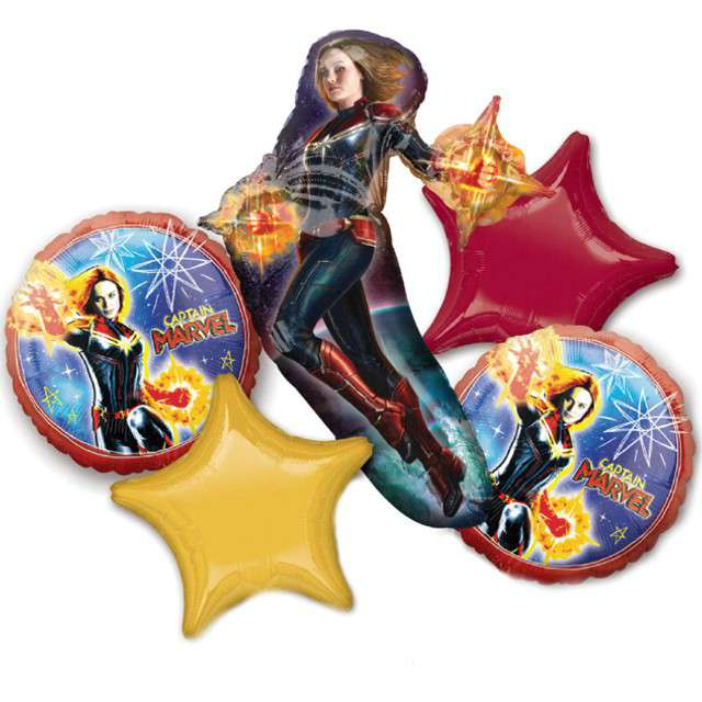 "Balon foliowy ""Kapitan Marvel - Avengers"", AMSCAN, zestaw"