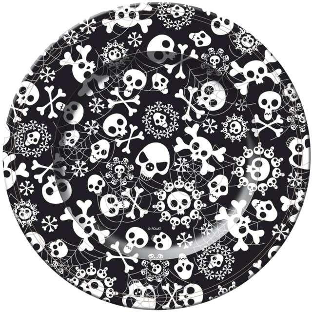 """Talerzyki papierowe """"Czaszki - Halloween"""", FOLAT, 23 cm, 8 szt"""