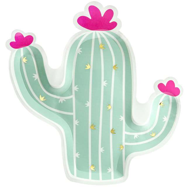 """Talerzyki papierowe """"Kaktus"""", PartyDeco, 24 cm, 6 szt"""