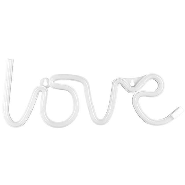 """Dekoracja świetlna """"Neon Love"""", biały, 34,5 cm"""
