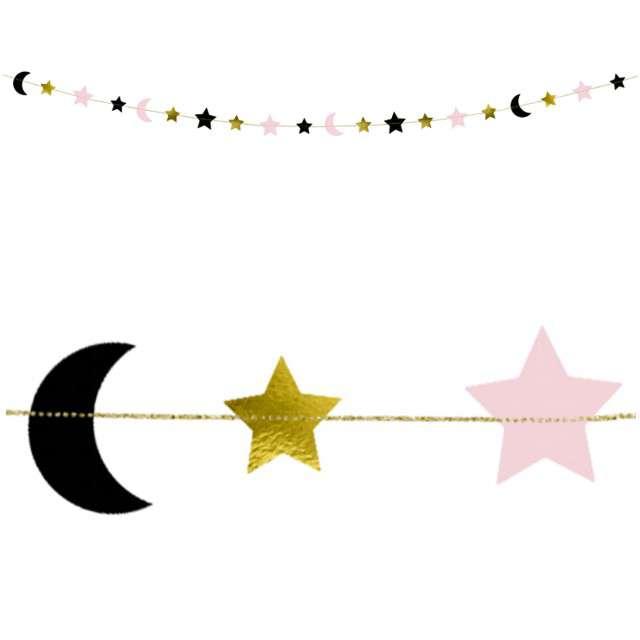 """Girlanda """"Gwiazdki i Księżyce"""", mix, PartyDeco, 190 cm"""