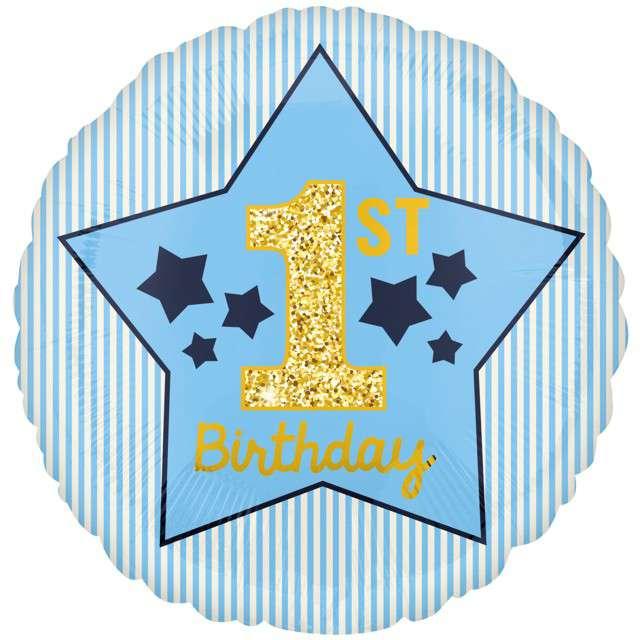 """Balon foliowy """"Roczek Chłopca - Birthday Boy"""", AMSCAN, 18"""" CIR"""