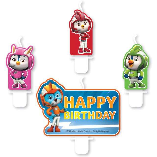 """Świeczka na tort """"Top Wing - Happy Birthday"""", AMSCAN, 4 szt"""