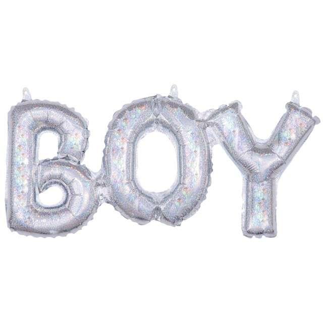 """Balon foliowy """"BOY"""", srebrny holograficzny, AMSCAN, 22"""" SHP"""