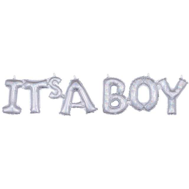 "Balon foliowy ""ITS A BOY"", srebrny holograficzny, AMSCAN, zestaw"