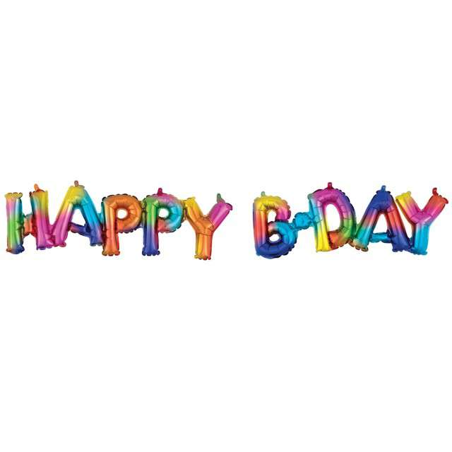 "Balon foliowy ""Happy Bday"", mix, AMSCAN, 30"" SHP"