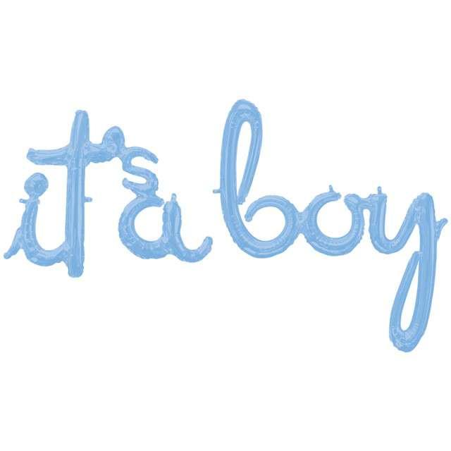"Balon foliowy ""Its a boy"", niebieski, AMSCAN, zestaw"