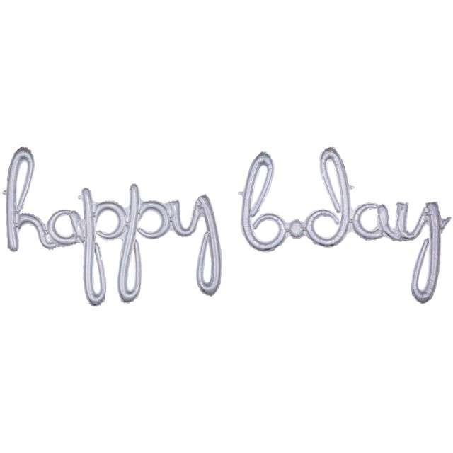 """Balon foliowy """"Happy Bday"""", srebrny holograficzny, AMSCAN, 39"""" SHP"""