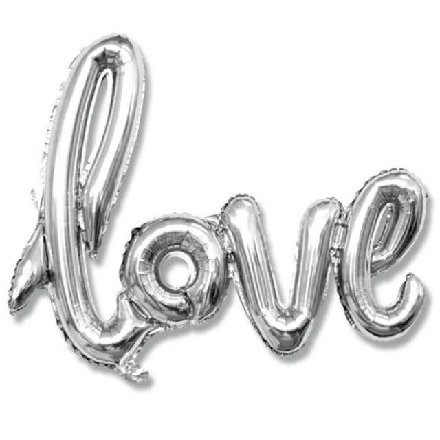 """Balon foliowy """"Love"""", srebrny, DekoracjePolska, 21"""" SHP"""