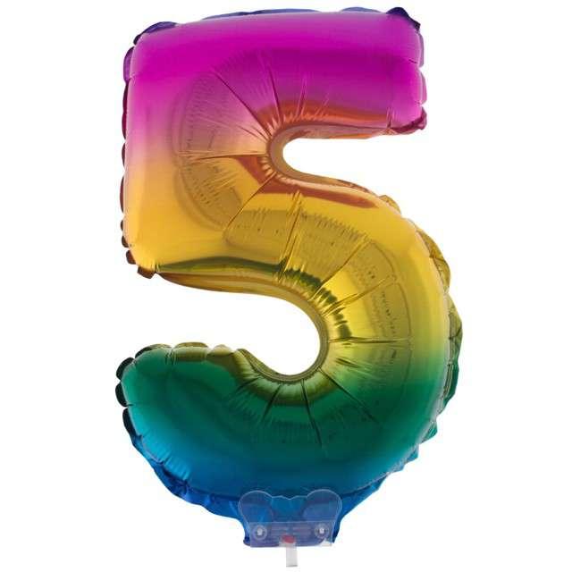 """Balon foliowy cyfra 5, tęczowy, Funny Fashion, 16"""""""