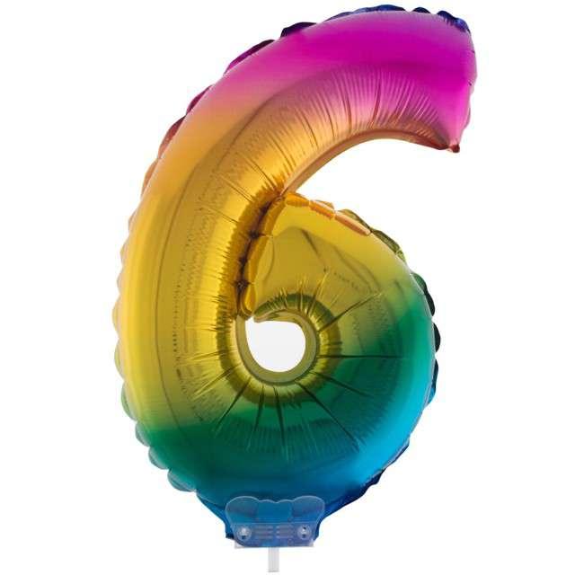 """Balon foliowy cyfra 6, tęczowy, Funny Fashion, 16"""""""