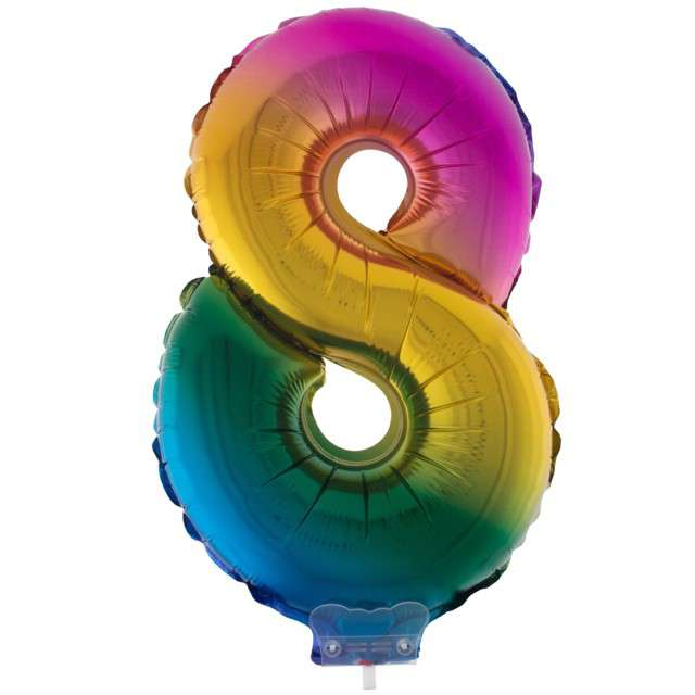 """Balon foliowy cyfra 8, tęczowy, Funny Fashion, 16"""""""