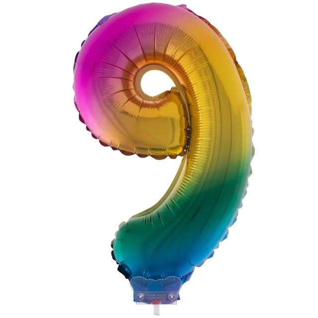 """Balon foliowy cyfra 9, tęczowy, Funny Fashion, 16"""""""