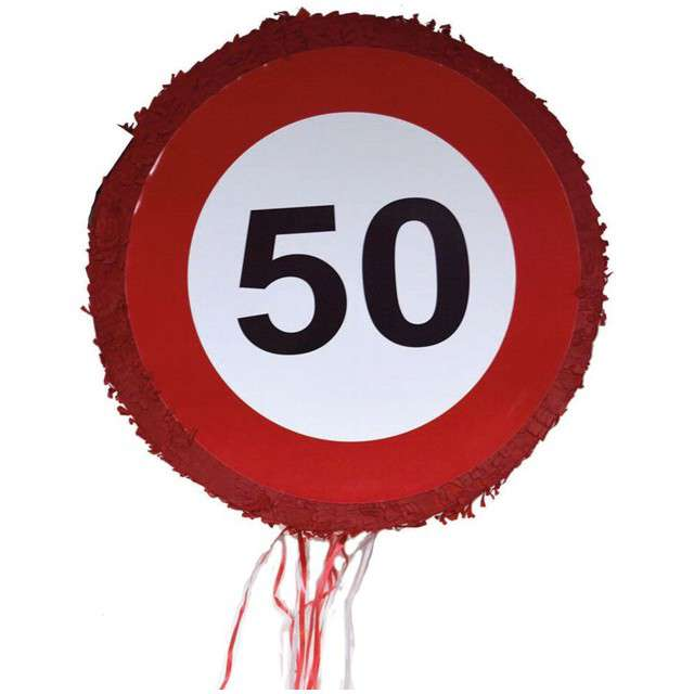 "Piniata ""50 Urodziny - Znak Traffic Birthday"", FunnyFashion, 50 cm"