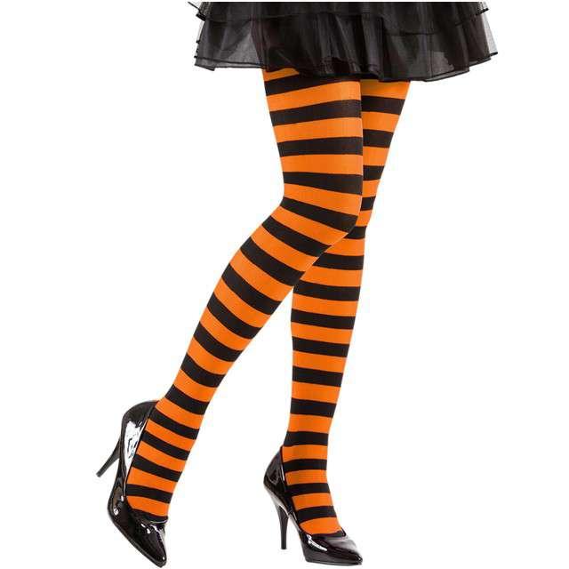 """Rajstopy """"Paski Halloween Pomarańczowe"""", WIDMANN, rozm. XL"""